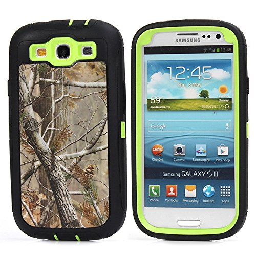KeckoTM For Galaxy S3 Case - Defender Series Natural Tree Camo Tough Armor Military Grade Hybrid Weather Resistant Shock Absorption Rugged Hard Case With Built in Screen Protector for Samsung Galaxy S3 i9300--Hunting Camo Trees Leaves On Green Core