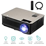 4000 Lumens Projector, HD LED Multimedia Video Projector Support 1080P 200