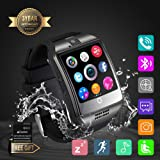 Smart Watch, Smartwatch Sweatproof Cell Phone SIM 2G GSM with Camera Support Sleep Monitor Push Message Anti Lost for Android HTC Sony Samsung LG Google and iPhone Smartphones (Q18 Black) (Color: Black)