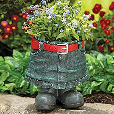 "Bits and Pieces - Denim Skirt Planter - Whimsical Indoor-Outdoor Lawn and Patio Décor - Hand-Painted Weather Resistant Polyresin - 6 1/2"" x 9"""