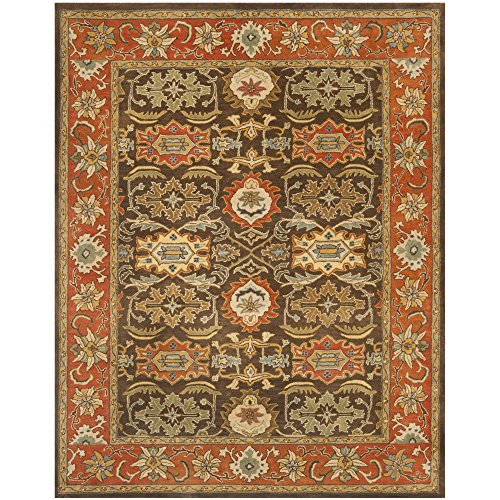 Safavieh Heritage Collection HG734B Handmade Chocolate and Tangerine Wool Area Rug, 9 feet 6 inches by 13 feet 6 inches (9'6