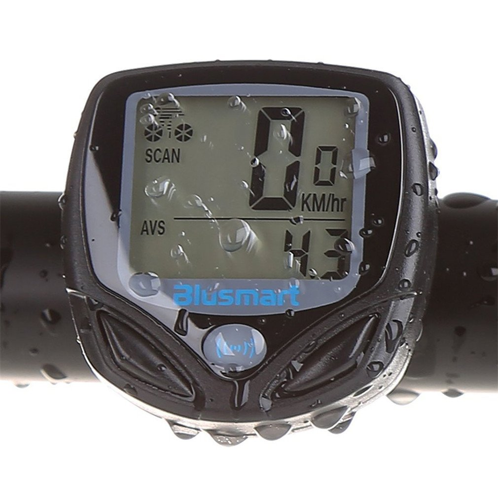 Blusmart Multi Function Wireless Waterproof LCD Bike Computer Odometer Speedometer with LCD Backlight