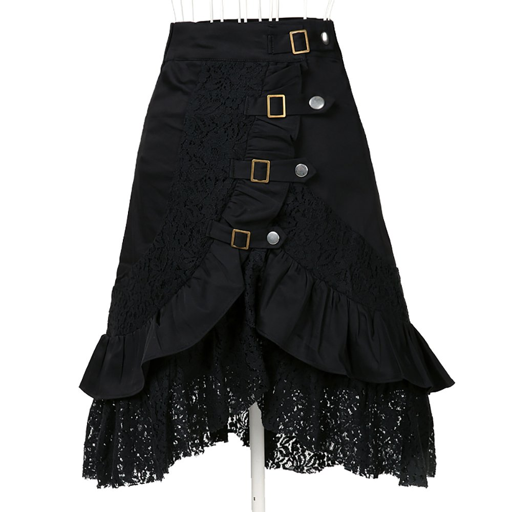 Women's Steampunk Gothic Clothing Vintage Cotton Lace Skirts Black Gypsy Hippie 0