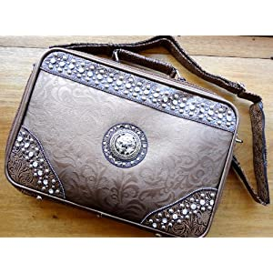 Bronze Tooled Leather Like Portfolio Designer Fashioned for Women Ipad 2 Case Cover
