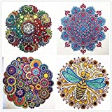 Diamond Painting, Mandala 4 Pieces 5D DIY Diamond Painting Adult Suit Children's Suit Special Shape Diamond Embroidery Home Wall Decoration Art (Color: r5342245, Tamaño: 12in*12in)