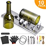Glass Bottle Cutter Kit, Bottle Cutter DIY Machine for Cutting Round, Square, Oval Bottles and Mason Jars, Accessories Tool Kit Gloves Fixing Rubber Ring Hemp Rope Sanding Paper for DIY Projects