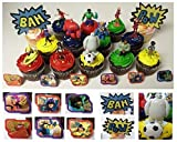 """Big Hero 6 Deluxe 21 Piece Cupcake Topper Set Featuring 6 Big Hero Party Cake Rings, Soccer Ball, Bam & Pow Signs, and 2"""" Figures of Hiro Hamada, Baymax, Go Go Tomago, Honey Lemon, Wasabi and Fred - Includes Each in Their Super Hero Battle Suits"""
