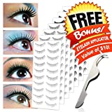False Eyelashes 70 Pairs Complete Bundle - 7 Different Styles Allows You to Look From Natural to Dramatic + FREE Bonuses