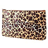 Coffee Color Leopard Pattern Zip Up Cosmetic Bag Makeup Tool Holder