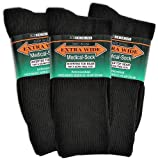 Extra-Wide Medical (Diabetic) Socks for Men (11-16 (up to 6E wide), Black) (pack of 3)