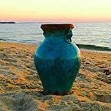 The Beach Chic Distressed Blue Turquoise Vase, Crackled Glaze Over Terracotta, 8 5/8 x 8 5/8 x 12 5/8(22D x 22W x 32H cm) By Whole House Worlds