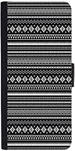 Snoogg Black And White Aztec Graphic Snap On Hard Back Leather + Pc Flip Cove...