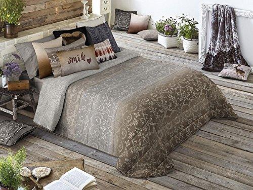 Textilhome - Colcha Bouti Estampada NEWTON - Cama 135cm - Color Beig