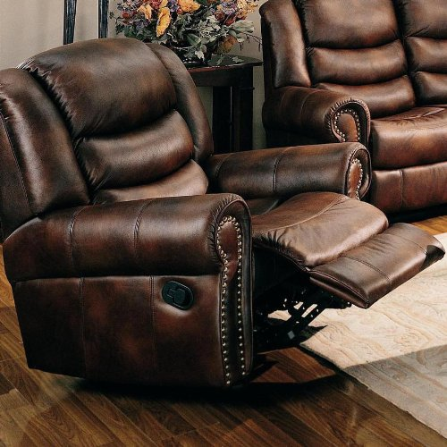 Rocker Recliner Sofa Chair Nail Head Trim Brown Leather