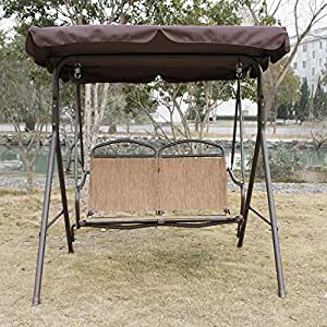 Walcut 2 Person Canopy Covered Swing Chair Outdoor Patio Mesh Loveseat Bench Porch
