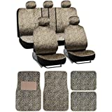16pc Cheetah Animal Stripes Seat Covers and Front and Rear Floor Mats and Dic...