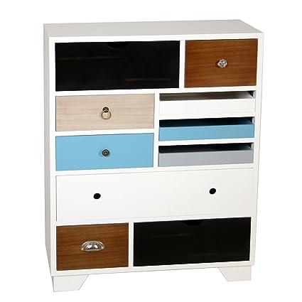 PAME 40701 - Cómoda de madera con cajones multicolores, 70 x 33 x 88,5 cm, color blanco