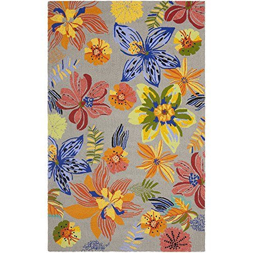 Safavieh Four Seasons Collection FRS468C Hand-Hooked Grey and Orange Indoor/ Outdoor Area Rug, 4 feet by 6 feet (4' x 6')