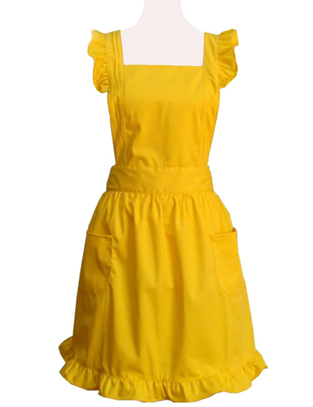 Hyzrz Cute Lovely Cotton Retro Kitchen Cooking Aprons for Women Girls Vintage Baking Sexy Victorian Apron with Pockets for Gift (Yellow) 0