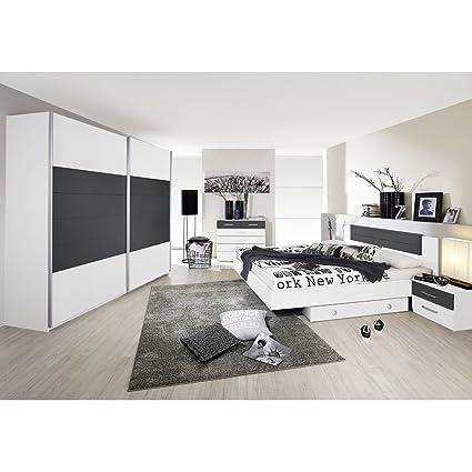 rauch Schlafzimmer Barcelona 6-tlg., weiß mit Absetzung grau metallic