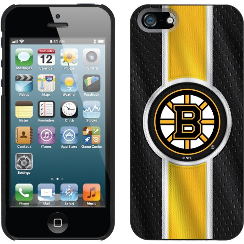 Special Sale Boston Bruins® - Jersey Stripe design on a Black iPhone 5s / 5 Thinshield Snap-On Case by Coveroo