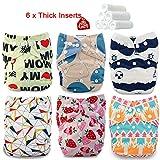 iZiv(TM) Recién Nacido Orgánico con 6 Insertos Gruesos Infantil Impermeable/Ajustable/Reutilizable/Lavable Pañal de Tela de Bolsillo aptos Bebés 0-3 años(Color-7)