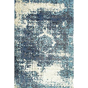 ... Traditional Vintage Inspired Overdyed Distressed Fancy Blue Area Rugs,  7 Feet 10 Inches Square (