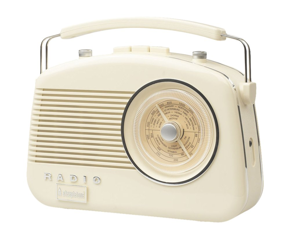 Steepletone Brighton 1950's Portable Retro Style Rotary Radio - Beige 0