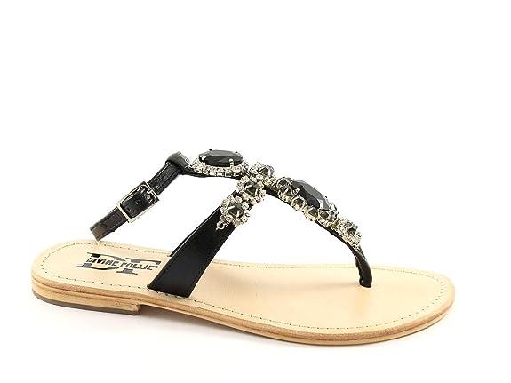 FOLLIE DIVINE 14-13582 strass noir lanière de cuir des sandales femme