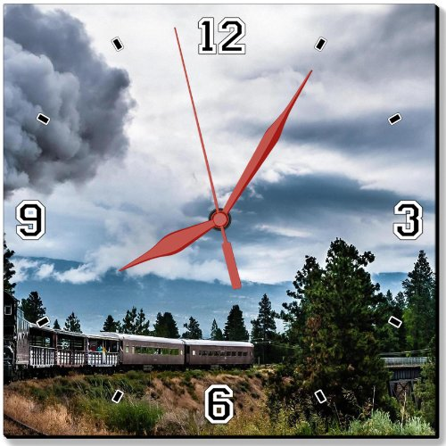 """Steam Clouds Trains Bridges Scenery 10"""" Quartz Plastic Wall Square Clock Classic Analog Setting Customized Inch Hand Needle Msd Made To Order Support Ready Dial Time Personalized Gift Battery Operated Accessories Graphic Designed Model Hd Template Wallpap front-600243"""