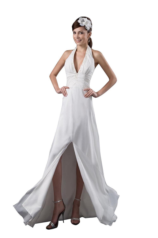 Elegant Women' Long Chiffon Evening Dresses with Halter Slit V-neck Beaded 41077