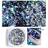 0.2g box Aurora Galaxy Holo Flakes Nail Arts Powder Chrome Laser Holographic Flakes Nails Accessories Products Cattie Girl DIY Manicure (03) (Color: 03)
