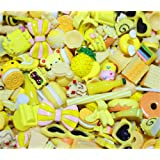 30 Pack Cute Candy Slime Beads Fruit Dessert Ice Cream Resin Charms Slices Flatback Buttons for Handcraft Accessories Scrapbooking Phone Case Decor (Yellow) (Color: Yellow, Tamaño: 10mm-25mm/0.39inch-1inch)