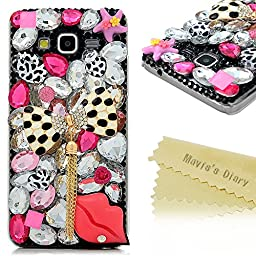 Galaxy Grand Prime Case - Mavis\'s Diary 3D Handmade Bling Crytal Fashion Bow with Tassel Sexy Lips Shiny Rhinestone Sparkle Diamonds Design Clear Hard Cover for Samsung Galaxy Grand Prime G5308 G530