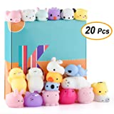 KUUQA 20 Pcs Kawaii Animal Mochi Squishies Toys Cute Mini Soft Squishy Cat Rabbit Panda Squishies Animals Squeeze Stress Relief Balls Toys for Kids Bi