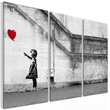 """Bild Format XXL 3016328a Banksy """"There is always hope"""" 90 x 60 cm, 3 Teile Reproduktion Kunstdruck Top Bilder auf Leinwand Wandbild Kreativ Deko Wohnungsdekoration"""