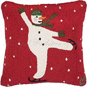 """Snowman Ice Skater 100% Wool Handmade Holiday Christmas Hooked Pillow. 18"""" x 18""""."""