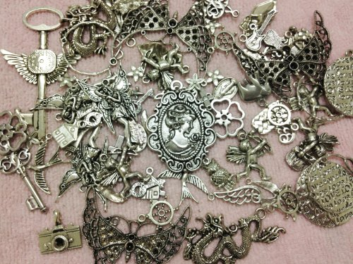 20pc Antiqued Silver Butterfly Key Owl Bird Dragon Victorian Lady Faries Chandeliers & More Charms Pendants Jewelry Finding Supplies