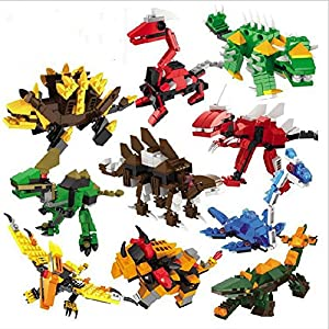 8 PCS /Set Age 6+ Size 7 cm. Jurrassic World Minifigures Jurrassic Park Dinosaur Building Blocks ABS Package Without Original box by Jurrassic World