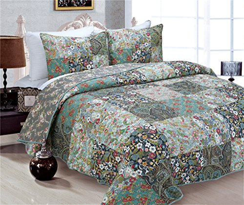 3 Piece Cotton Countryside Floral Patchwork Queen Size Bedspread Quilt Sets Green (Quilts Sale compare prices)
