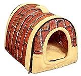 Yihiro ペットハウス 犬小屋 2WAY 室内用 ドーム型 ペットベッド マット付き 快適 ふわふわ 通気性良い (L(60*45*45cm), レッドレンガ柄)