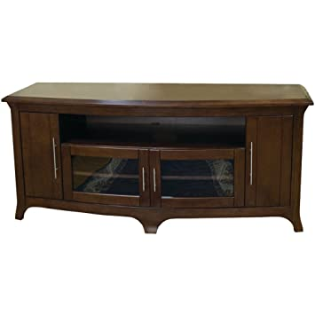 TechCraft EOS6428 64-Inch Wide Flat Panel TV Curved Front Credenza - Walnut