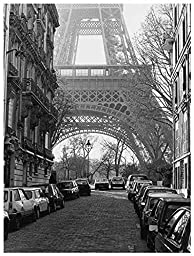 18W x 24H Street View of La Tour Eiffel by Clay Davidson - Stretched Canvas w/ BRUSHSTROKES