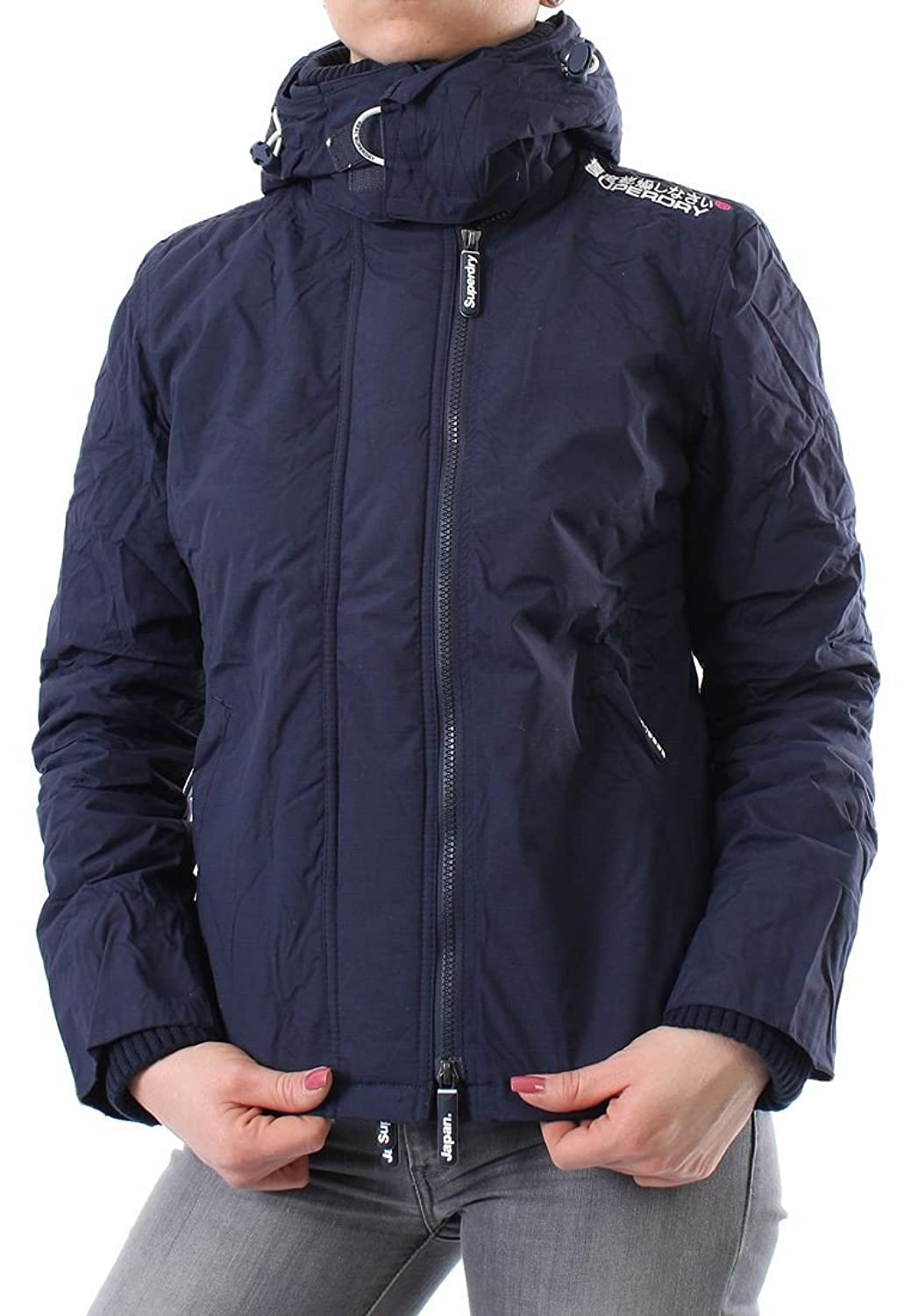 Superdry Windbreaker Women - HOODED SHERPA - Nautical Navy-Cream