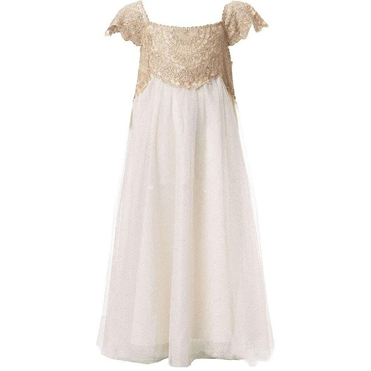 Flower Girl Wedding Vintage Champagne Lace Tulle First Communion Dress 1