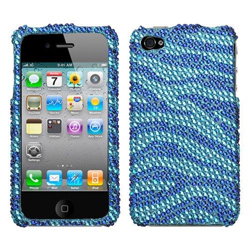 Iphone 4 Snap On Cover Zebra Skin (Baby Blue/Dark Blue) Full Diamond front-1039275