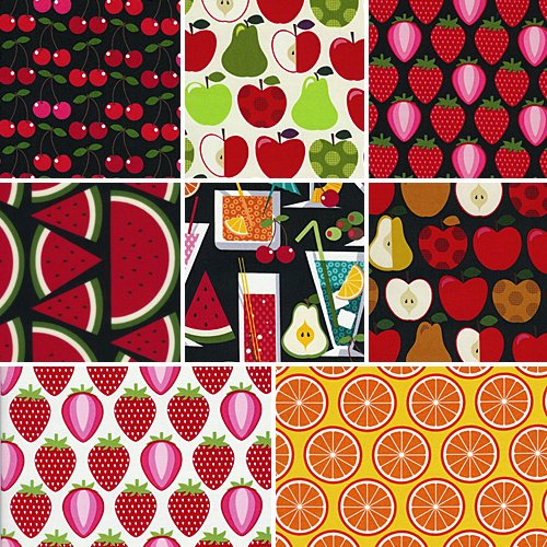 Timeless Treasures HOODIES FRUIT COLLECTION Fat Quarters 8 Fabric FQs