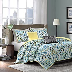 Madison Park Caprice 5 Piece Quilted Coverlet Set, King, Blue