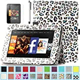 Kindle Fire HD 7.0 Case - ULAK Slim Fit PU Leather Standing Protective Cover with Auto Sleep/Wake Feature for Amazon Kindle Fire HD 7.0 Inch 2012 Gen with Screen Protector, Colorful Leopard Skin