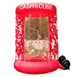 Inflatable Cash Cube Booth for Advertisment, Inflatable Money Grab Machine Promotion for Event (No Blower Included) (Red) (Color: Red)